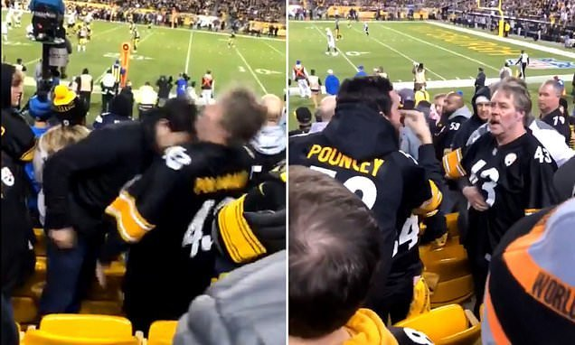 Steelers fans ignite melee after one inexplicably headbutts the other