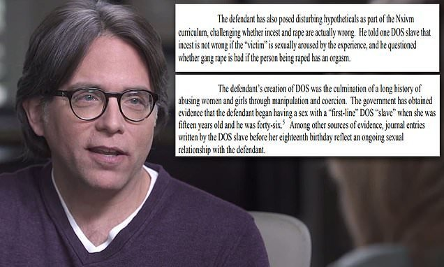 Nxivm sex-cult leader Keith Raniere had sex with a 15-year-old slave