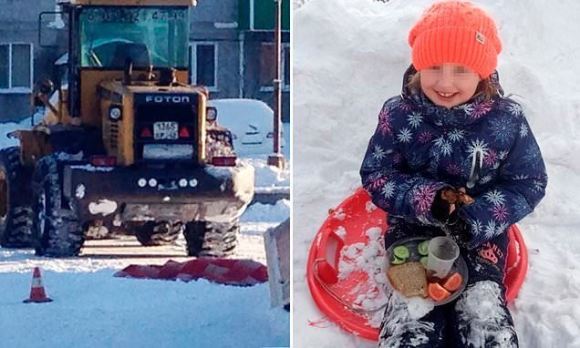Girl, seven, is run over and killed by a snowplough