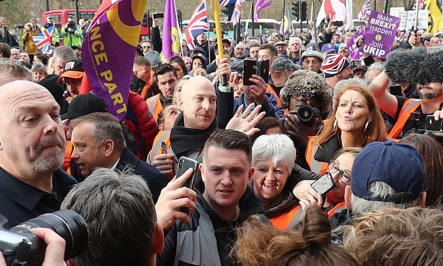 Thousands join EDL founder Tommy Robinson for 'Brexit Betrayal' march