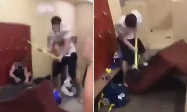 Teen football player takes sledgehammer to rival team's locker room