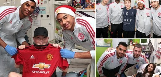 Manchester United's stars hand out gifts at children's hospitals