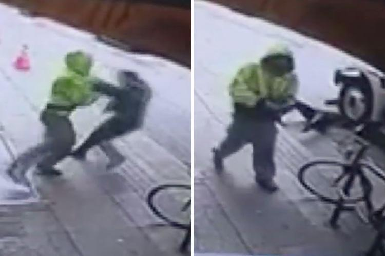 Shocking moment hooded man pushes unsuspecting pedestrian in front of lorry in horrific unprovoked attack