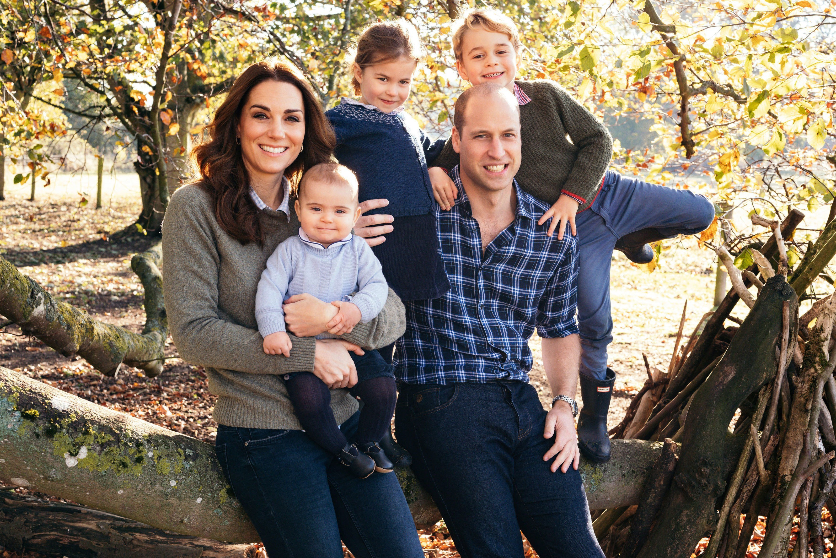 Prince George wears jeans for the first time in family Christmas card