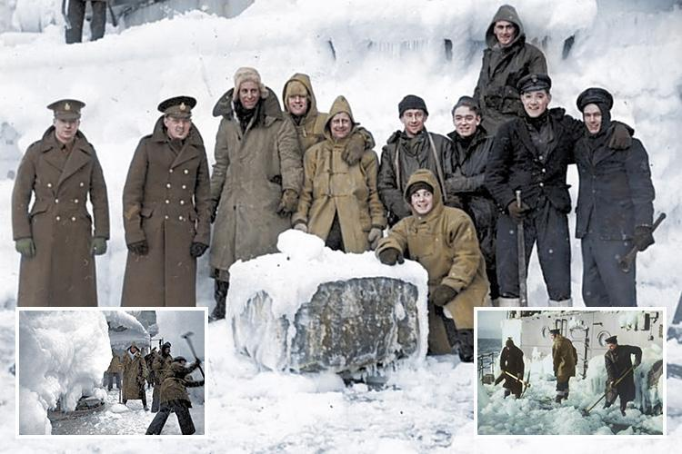 Colourised pictures reveal harrowing conditions faced by British forces on Arctic convoys to Russia during WWII