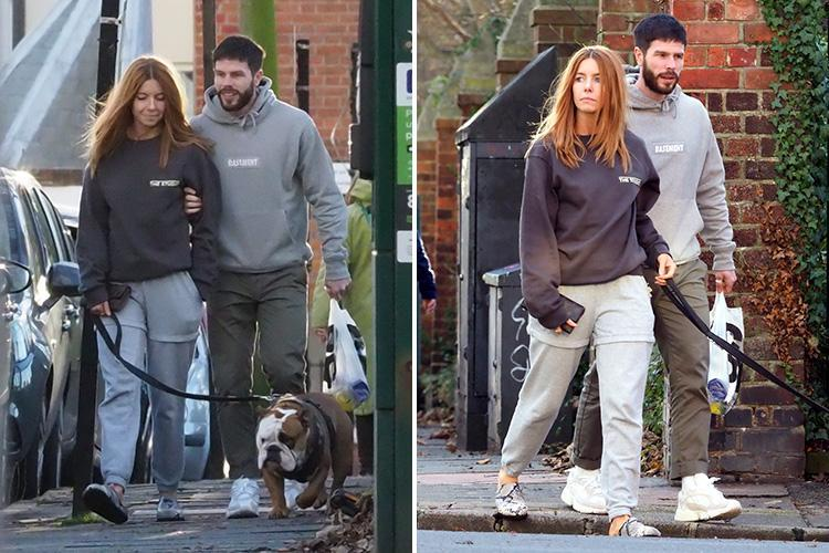 Strictly favourite Stacey Dooley and boyfriend Sam Tucknott wear matching tracksuits as they walk her bulldog in London