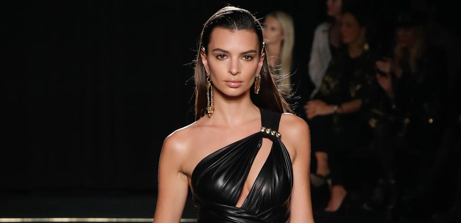 Emily Ratajkowski Puts On Busty Display As She Struts Down The Versace Catwalk