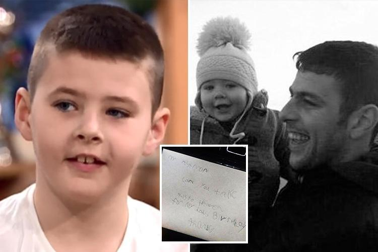 Boy, 7, who wrote birthday card for dad in heaven says he 'wanted to give him something to read' in adorable This Morning interview