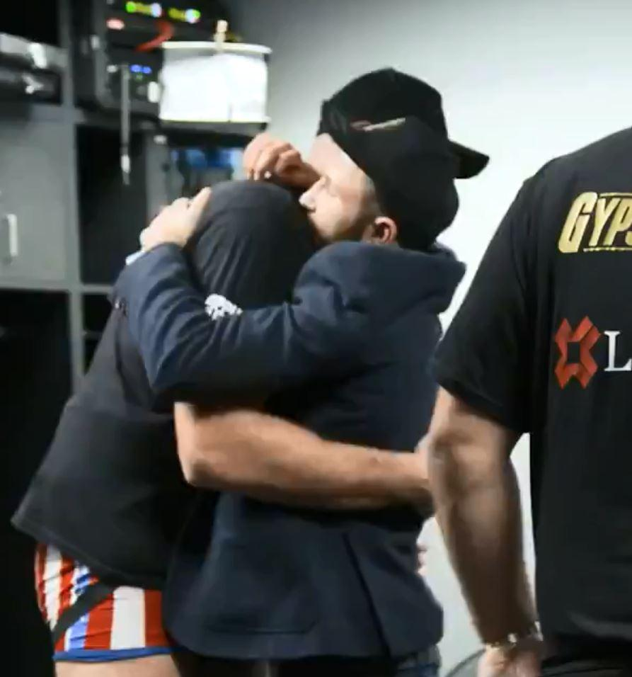 Tyson Fury consoles his family and friends following Deontay Wilder draw in amazing dressing room footage