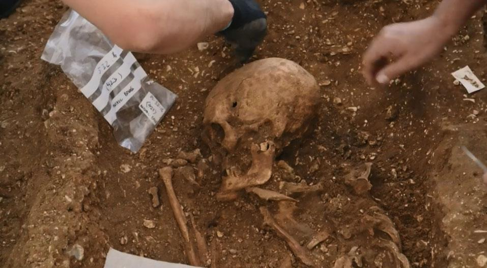 Skeleton of 'VAMPIRE' with iron spears driven through his body after he died discovered in Yorkshire