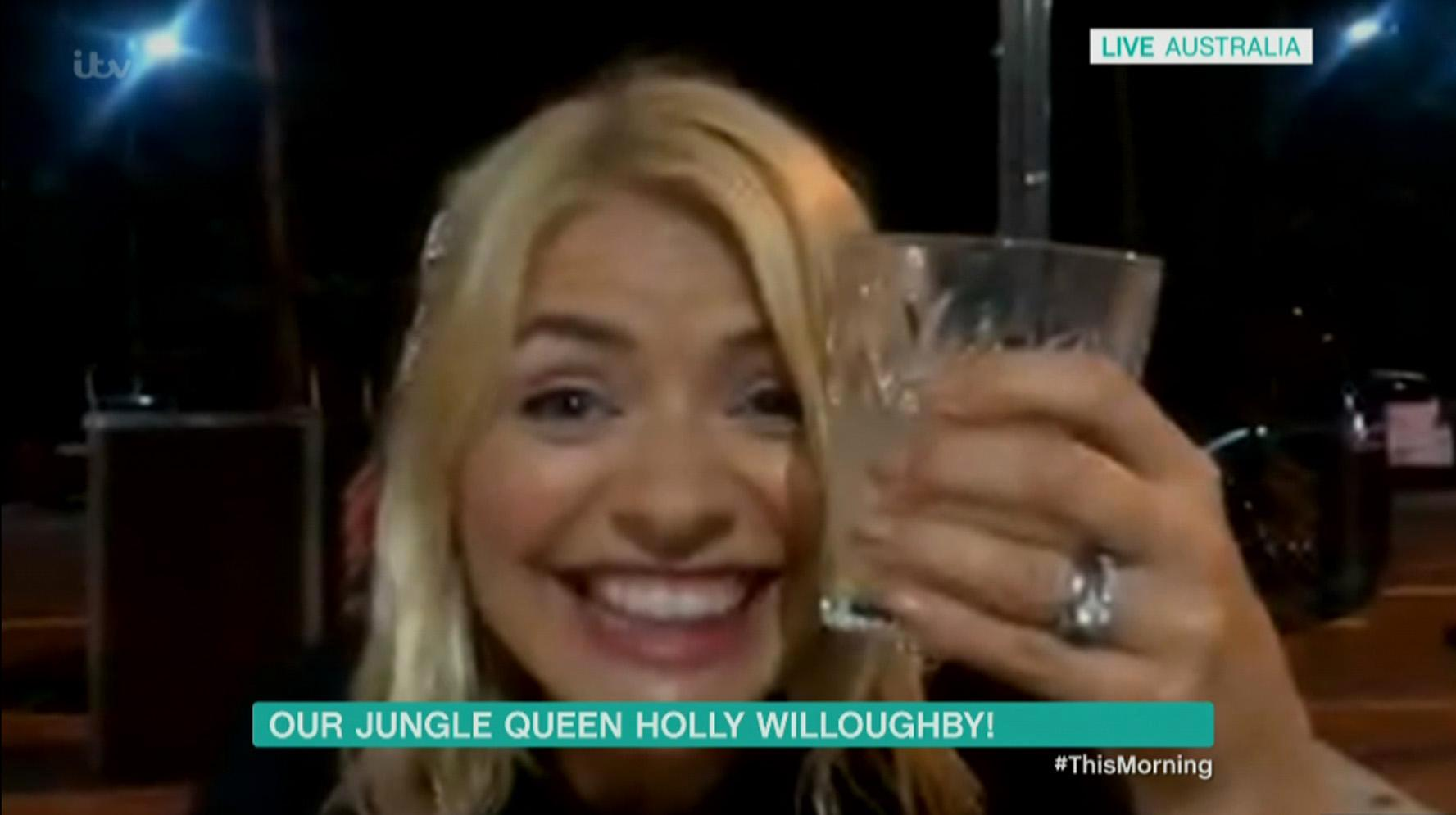 Tipsy Holly Willoughby thrills This Morning viewers as she appears for 'drunken reunion' with Phillip Schofield after 12 hours of drinking at I'm A Celeb wrap party