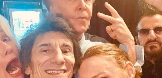 Paul McCartney takes Beatles reunion selfie with Ronnie Wood and other pals after O2 Arena gig