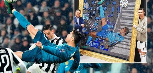 Ronaldo's epic overhead kick against Juventus made into Swarovski crystal art