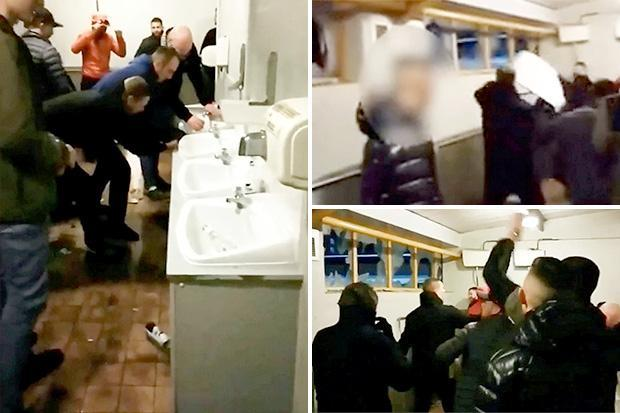 Watch as Stoke hooligans smash widows and destroy Port Vale toilet in scenes reminiscent of 80s football violence