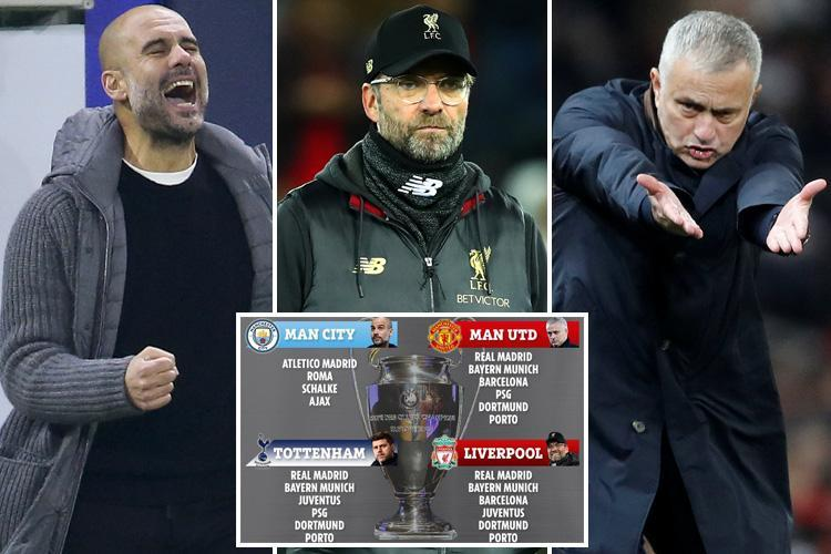 Who Man Utd, City, Spurs and Liverpool are most likely to draw in Champions League knock-out stages