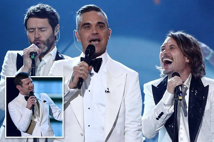 Dermot O'Leary makes awkward gag about Jason Orange quitting Take That as Robbie reunites with the band during The X Factor