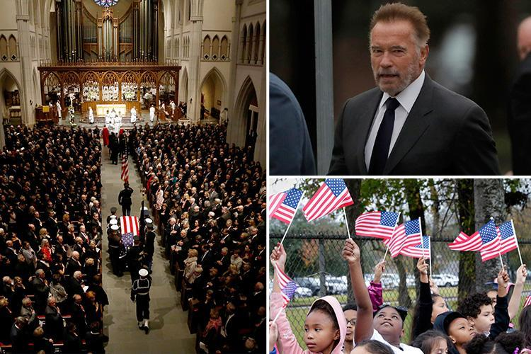 Arnold Schwarzenegger arrives at George HW Bush's second funeral to honour President who gave him 'big break' in politics