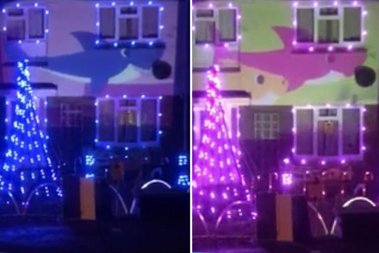 Family decorates home with Baby Shark Christmas lights and some people praise their 'hard work' but others say they 'would cut the power to their house'