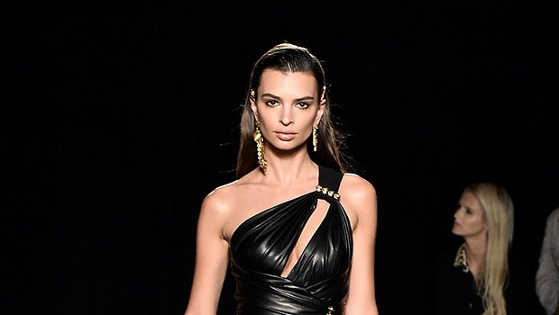 Emily Ratajkowski Stuns In Sexy Black Leather Mini Dress At Versace Show — See Pics