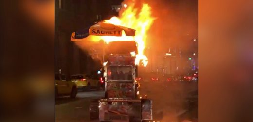 Hot dog cart goes up in flames in Midtown