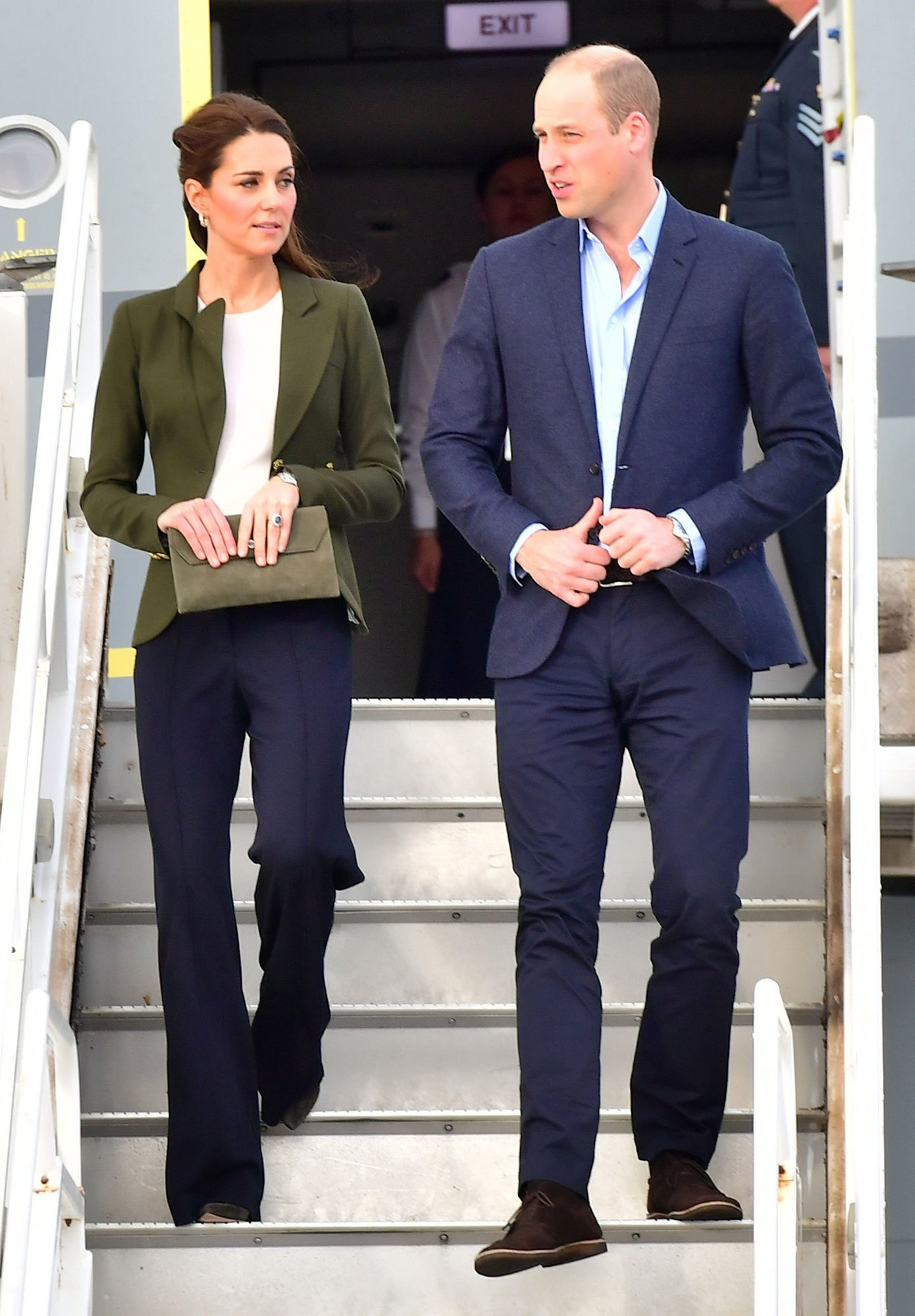 Kate Middleton Follows in Meghan Markle's Fashionable Footsteps in Wide-Legged Pants and a Blazer