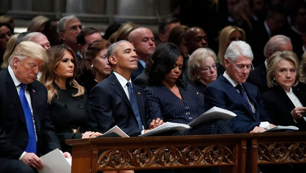 Melania Trump Felt 'Major Tension' From Michelle Obama & Hillary Clinton At George H.W. Bush's Funeral