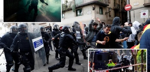 Barcelona protests see Catalan separatists clash with cops as Europe riot chaos spreads to Spain