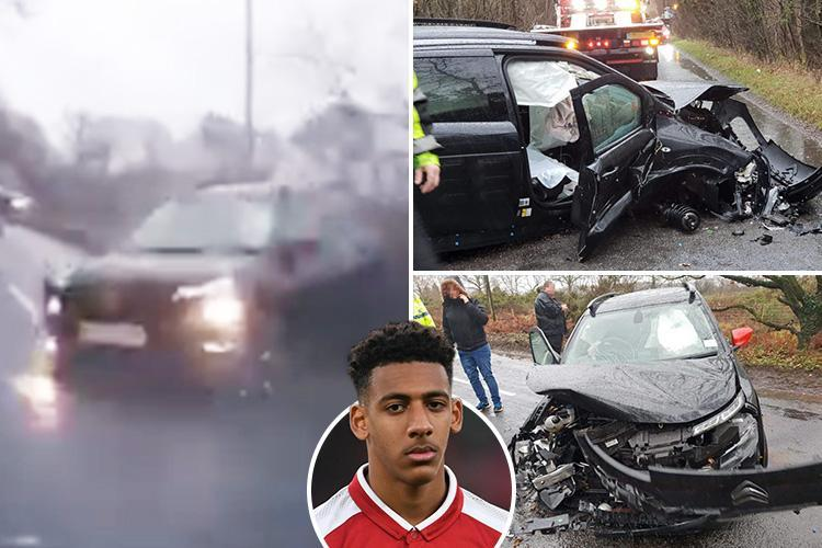 Moment Arsenal star 'veers head-on into car sparking horror crash just yards from training ground'