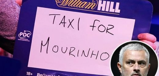 Jose Mourinho trolled at the Ally Pally as darts fan holds up mocking message to sacked Man Utd manager