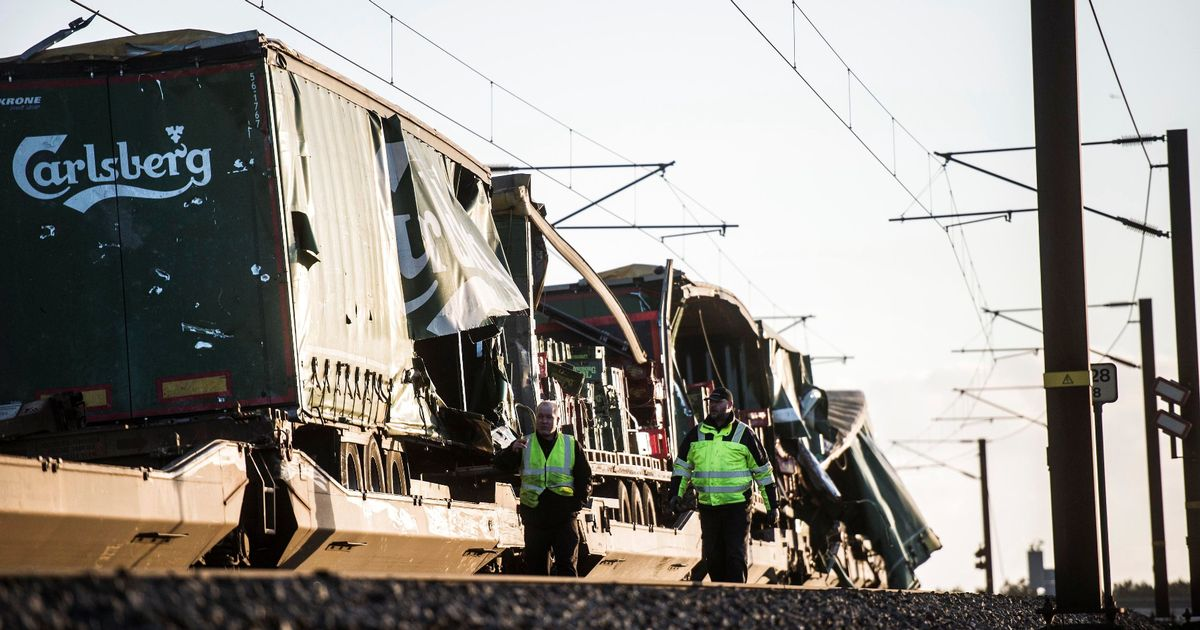 Six dead 'after train hit by object from passing freight train' in Denmark