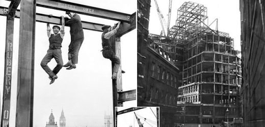 Retro images show 'human flies' hanging from London building site