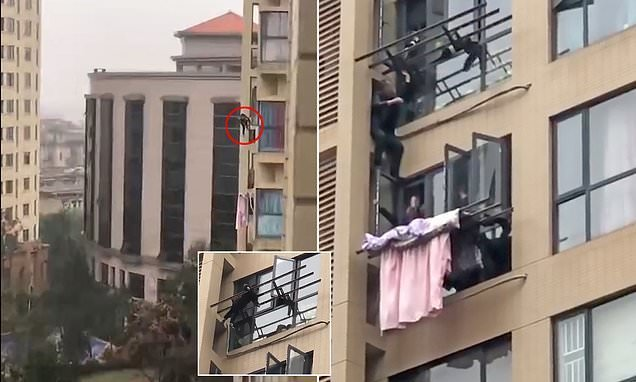 Boy, 5, dangles from a drying rack eight floors up before being saved