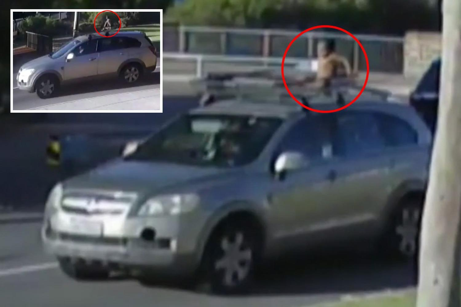 Baby in nappy filmed riding on ROOF of car while mum drove completely unaware