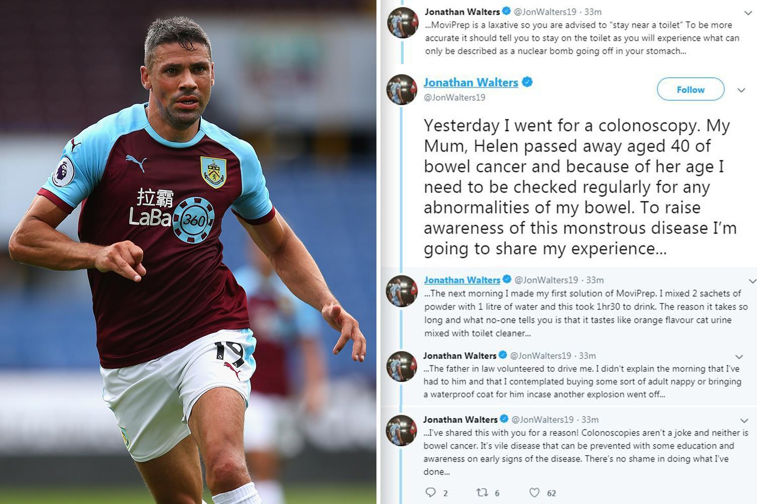Premier League star's hilarious account of having 'camera 12,000ft up his backside' to test for bowel cancer