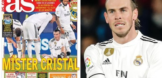 Gareth Bale dubbed 'Mr Glass' as Welsh star suffers 22nd Real Madrid injury