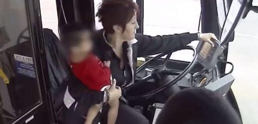Moment bus driver rescues one-year-old baby girl found wandering alone and barefoot along road in freezing temperatures