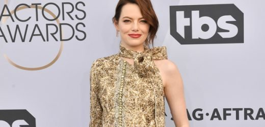 Emma Stone Looks Regal In Sparkling Blouse & Black Trousers At SAG Awards — Pic