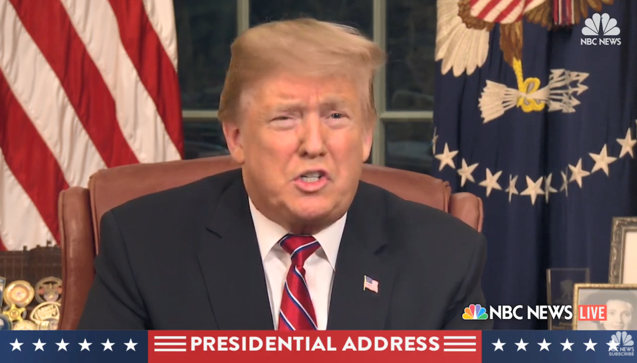 Donald Trump border wall speech – US President calls for Mexico barrier funding to defeat 'humanitarian and security crisis' in landmark Oval Office broadcast