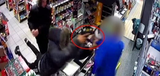 Footage shows moment thugs threaten shop keeper with huge MACHETE