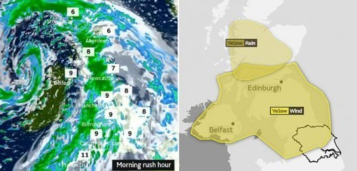 Storm Erik causes 'risk to life' warnings and rush hour chaos