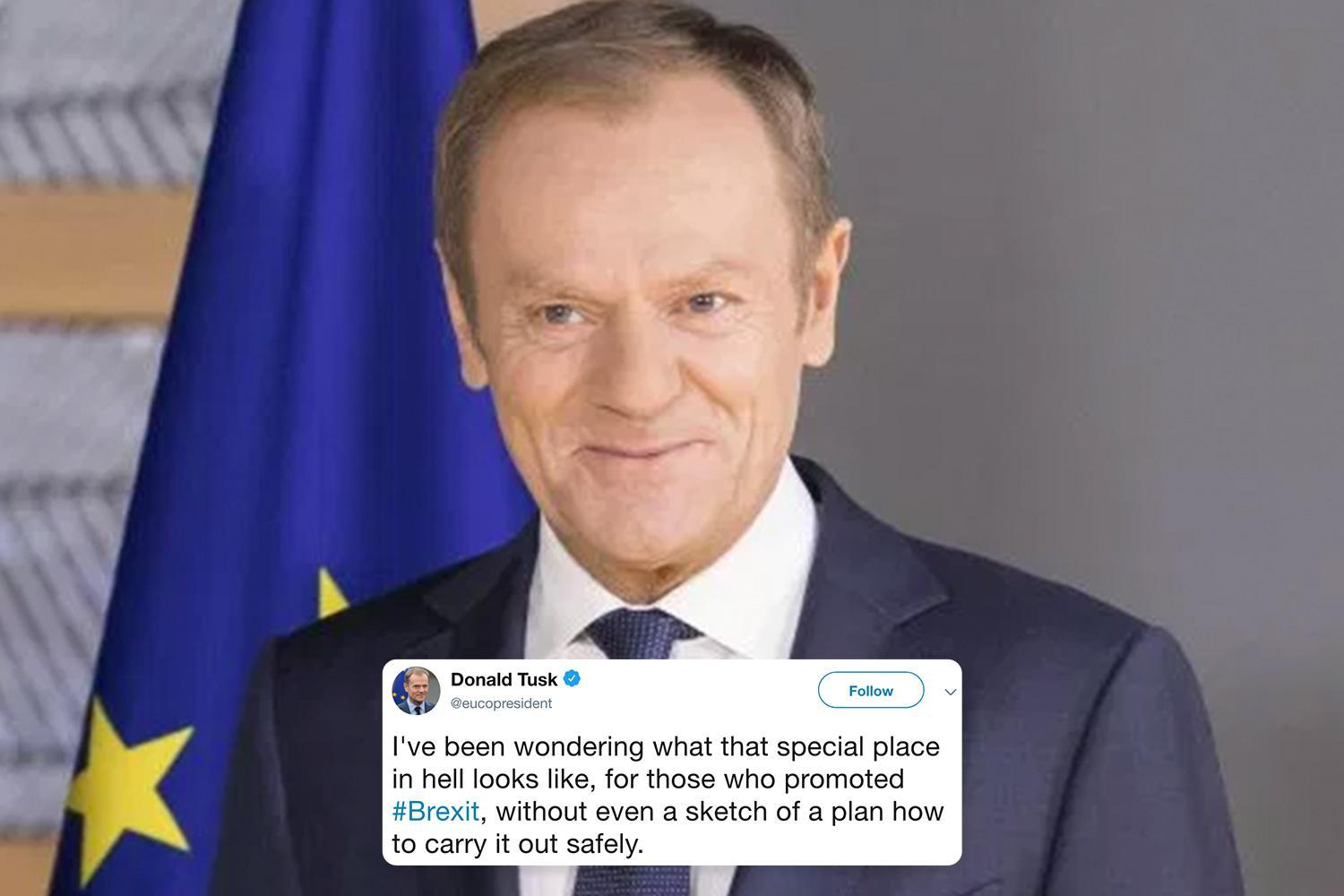 Sneering Eurocrat Donald Tusk says there's a 'special place in hell' for Brexiteers in extraordinary blast