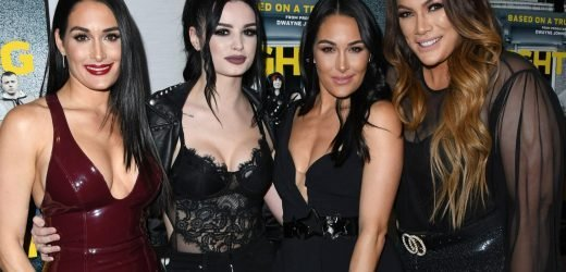 Bella Twins join Paige to glam up red carpet for screening of biopic film Fighting With My Family