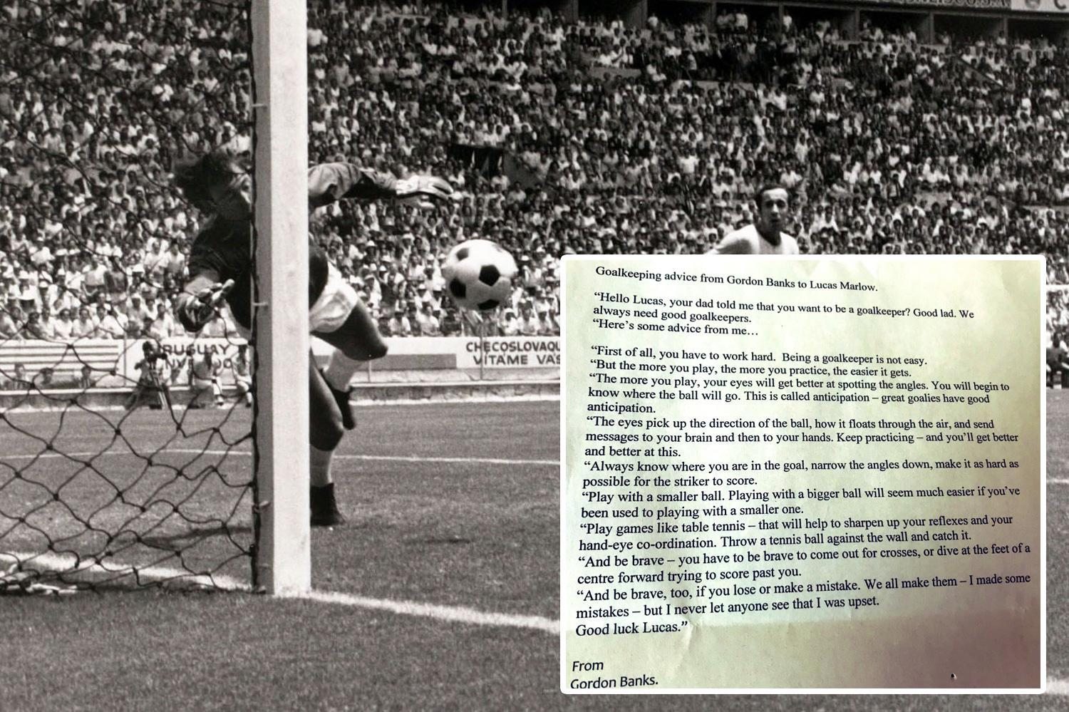 The incredible advice Gordon Banks gave when he was told of aspiring goalkeeper