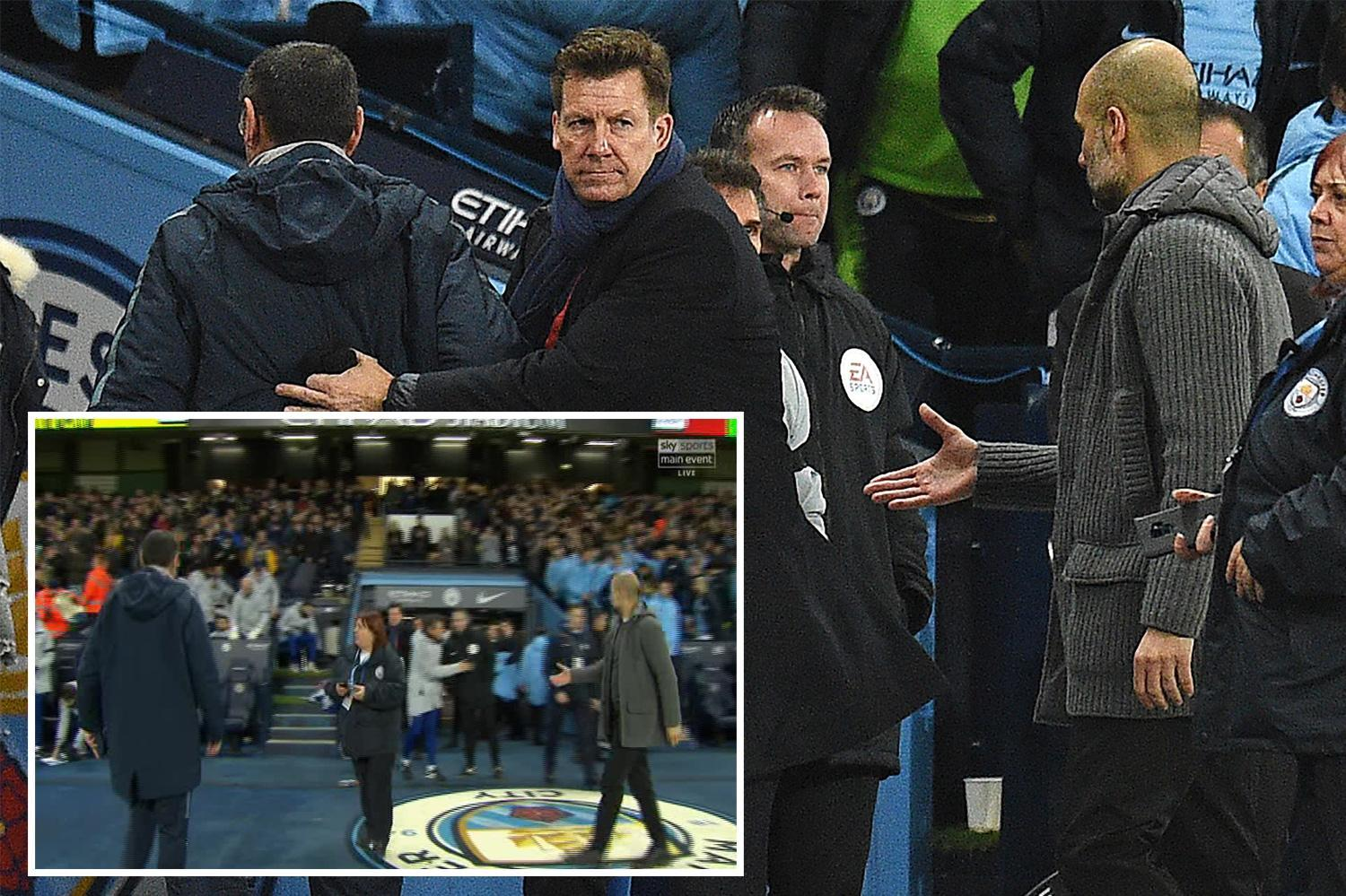 Chelsea boss Sarri refuses to shake Guardiola's hand after Man City thump Blues