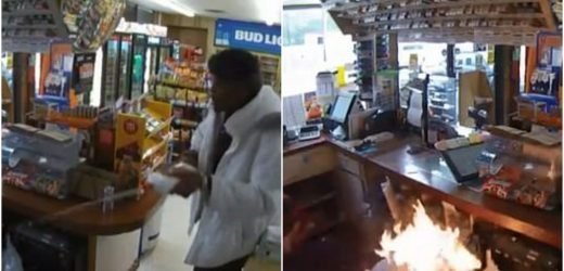 Terrifying moment cruel armed robber douses women in lighter fluid and sets one on FIRE before making off with £600 in daylight shop raid