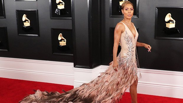 Jada Pinkett Smith Rocked A Pink Feather Dress With A Dramatic Trail at 2019 Grammy Awards