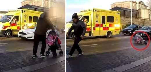 Heart-stopping moment killer 80mph Storm Erik gales drag pram into road right in front of an oncoming car