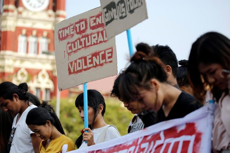 Myanmar police use rubber bullets to break up protest