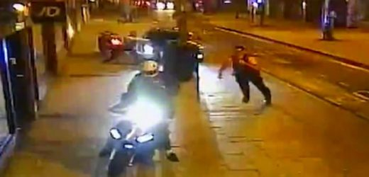 Police chase moped gang who are caught in middle of raid on phone shop