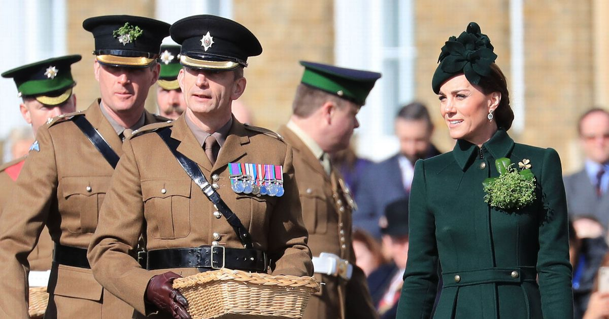 Kate Middleton wears emerald green for St Patrick's Day as she meets troops